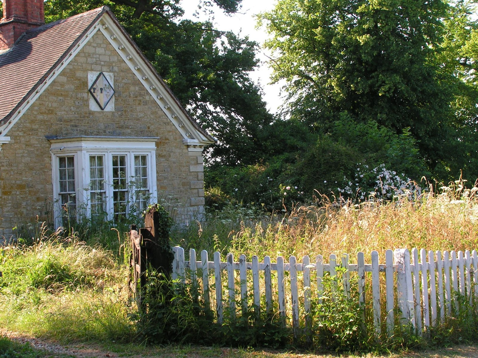 Image of a stone house with a yard full of overgrown weeds in need of Frontier's brush and land clearing services.